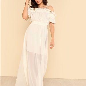 Ruffle Trim Cold Shoulder Sheer Dress